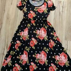 NWT Lularoe M Roses Stars Riley Dress